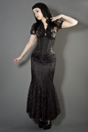 Daisy underbust burlesque corset in black scroll brocade