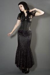 Daisy underbust burlesque corset in black scroll brocade