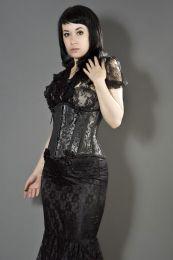 Daisy underbust burlesque corset in silver scroll brocade