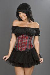 Daisy underbust corset in red tartan
