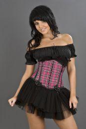 Daisy underbust pink tartan corset