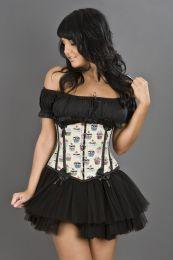 Daisy underbust rockabilly corset in cupcake print