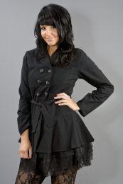 Dark female gothic jacket in black twill