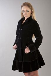 Dark women's coat in black velvet flock and black fur