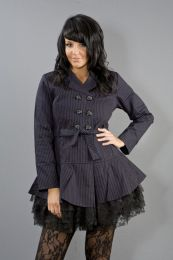 Dark ladies gothic jacket in black and purple stripes