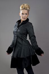 Dark women's coat in black brocade and black fur