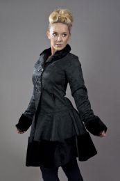 Dark women's coat in black brocade and black fur