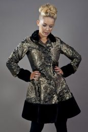 Dark women's coat in gold king brocade and black fur