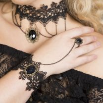 Dark Lolita  black lace with black stone bracelet with ring