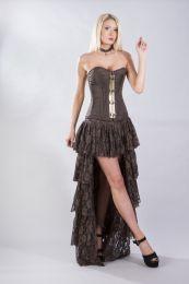 Vintage overbust corset in brown stripe brocade