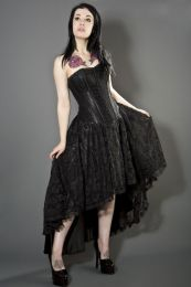 Devine corset dress in black satin with black lace overlay