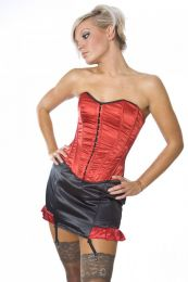 Devine overbust fashion corset in red satin