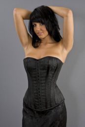 Devine overbust lace up corset in black brocade