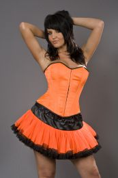 Devine overbust corset neon orange satin