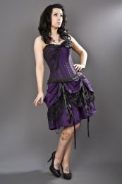 Dita knee length burlesque skirt in purple taffeta