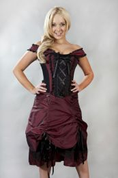 Dita victorian corset dress in burgundy taffeta