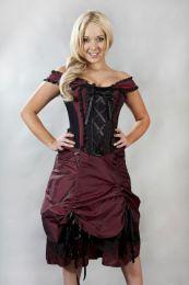 Dita victorian corset dress in burgundy taffeta