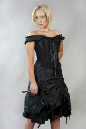 Dita victorian corset dress in black taffeta