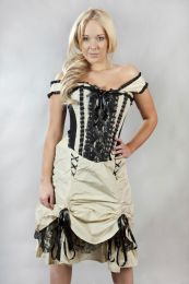 Dita corset dress in cream and black taffeta