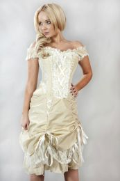 Dita vintage corset dress in cream taffeta and cream lace