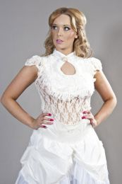 Dita sleeveless gothic top in white stretch lace