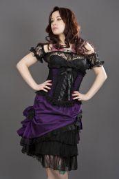 Diva knee length burlesque skirt in purple taffeta