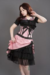 Diva knee length burlesque skirt in pink taffeta