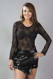 Scarlet long sleeve black lace gothic top
