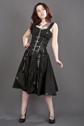 Dominatrix punk rock corset dress in black twill
