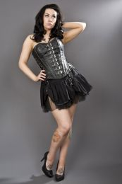 Dominatrix overbust steampunk corset in black matte vinyl