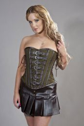 Dominatrix overbust steampunk corset in green olive twill and brown matte