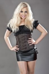 Dominatrix underbust steampunk corset in brown matte vinyl