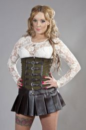 Dominatrix underbust steampunk corset in olive green twill and brown matte