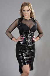 Dominia halter neck underbust corset in black PVC