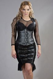 Dominia underbust corset with shoulder straps in black matte vinyl