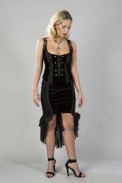 Donatella gothic waistcoat in black flock