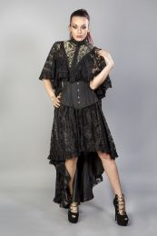 Draconia black lace gold king brocade bolero