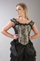 Duchess overbust corset with straps in gold king brocade