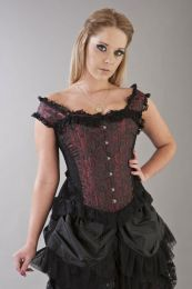 Duchess overbust corset with straps in red scroll brocade