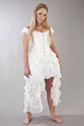 Duchess overbust wedding corset in white scroll brocade