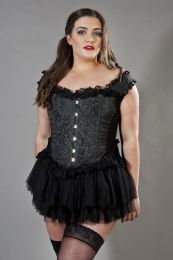 Duchess overbust plus size corset with straps in black scroll brocade