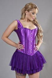 Duchess overbust steel boned corset in purple satin