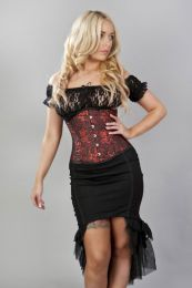 Elegance double steel boned underbust corset in black satin and red dragon