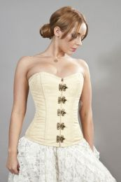 Elegant c-lock steel boned overbust corset in cream brocade