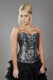 Elegant c-lock steel boned overbust corset in silver king brocade