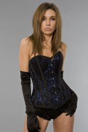 Elegant overbust corset in navy blue satin and black lace overlay