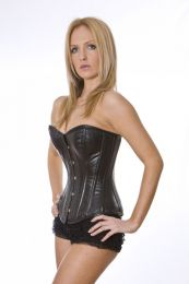 Elegant overbust napa leather corset in black