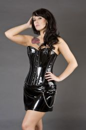 Elegant overbust plus size corset in black PVC