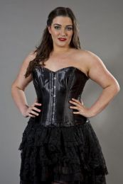 Elegant overbust plus size corset in black satin