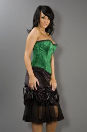 Elegant overbust plus size corset in green satin